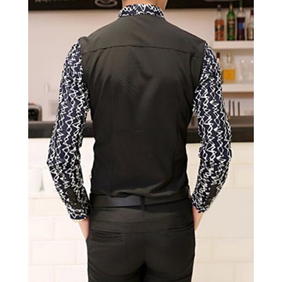 Гаджет   Stylish Shirt Collar Slimming Color Block Ripple Print Splicing Long Sleeve Cotton Blend Shirt For Men Shirts