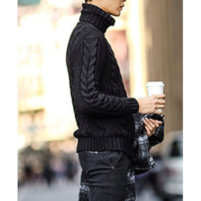 Гаджет   Stylish Turtle Neck Slimming Solid Color Kink Design Long Sleeve Thicken Woolen Blend Sweater For Men Sweaters & Cardigans