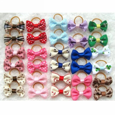 2pcs Bowknot Pattern Rubber Headwear Hair Rope for Pet