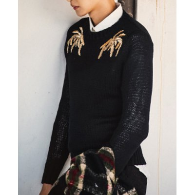 Гаджет   Stylish Round Neck Slimming Embroidered Solid Color Long Sleeve Cotton Blend Sweater For Men Sweaters & Cardigans