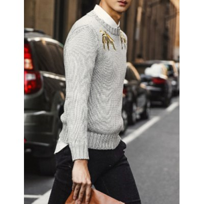 Гаджет   Stylish Round Neck Slimming Embroidered Solid Color Long Sleeve Cotton Blend Sweater For Men