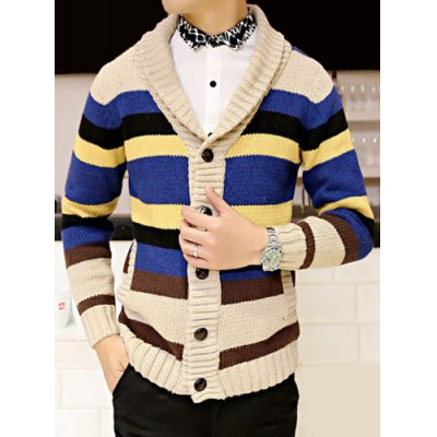 Гаджет   Fashion Style Turn-down Collar Colorful Stripes Splicing Slimming Long Sleeves Men