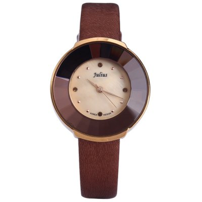 Julius JA  -  739 Women Ladeis Quartz Watch Round Dial Leather StrapWomens Watches<br>Julius JA  -  739 Women Ladeis Quartz Watch Round Dial Leather Strap<br><br>Brand: Julius<br>Watches categories: Female table<br>Available color: Red, Coffee, Black<br>Style : Fashion&amp;Casual<br>Movement type: Quartz watch<br>Shape of the dial: Round<br>Display type: Analog<br>Case material: Stainless steel<br>Band material: Leather<br>Clasp type: Pin buckle<br>The dial thickness: 0.7 cm / 0.3 inches<br>The dial diameter: 3.2 cm / 1.3 inches<br>The band width: 1.1 cm / 0.5 inches<br>Product weight: 0.029 kg<br>Product size (L x W x H) : 21.5 x 3.2 x 0.7 cm / 8.5 x 1.3 x 0.3 inches<br>Package contents: 1 x Women Quartz Watch