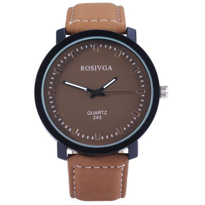 Rosivga 243 Men Quartz Watch Leather Strap Round DialMens Watches<br>Rosivga 243 Men Quartz Watch Leather Strap Round Dial<br><br>Brand: Rosivga<br>Watches categories: Male table<br>Watch style: Fashion<br>Available color: Black, White, Brown<br>Movement type: Quartz watch<br>Shape of the dial: Round<br>Display type: Analog<br>Case material: Tungsten steel<br>Case color: Black<br>Band material: Leather<br>Clasp type: Pin buckle<br>The dial thickness: 1.0 cm / 0.4 inches<br>The dial diameter: 4.5 cm / 1.8 inches<br>The band width: 2.0 cm / 0.8 inches<br>Product weight: 42 g<br>Product size (L x W x H): 24 x 4.5 x 1.0 cm / 9.4 x 1.8 x 0.4 inches<br>Package Contents: 1 x Watch