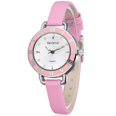 Skone Women Japan Quartz Watch Diamond Round Dial Leather StrapWomens Watches<br>Skone Women Japan Quartz Watch Diamond Round Dial Leather Strap<br><br>Watches categories: Female table<br>Available color: Brown, Pink, Red<br>Style : Fashion&amp;Casual<br>Movement type: Quartz watch<br>Shape of the dial: Round<br>Display type: Analog<br>Case material: Alloy<br>Band material: Leather<br>Clasp type: Pin buckle<br>The dial thickness: 1.0 cm / 0.4 inches<br>The dial diameter: 2.6 cm / 1.0 inches<br>The band width: 0.7 cm / 0.3 inches<br>Product weight: 30 g<br>Product size (L x W x H) : 19.5 x 2.6 x 1.0 cm / 7.7 x 1.0 x 0.3 inches<br>Package contents: 1 x Watch