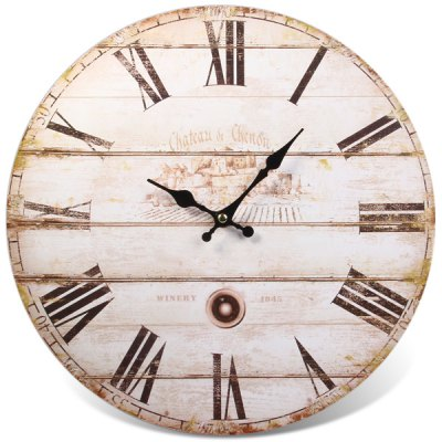 Simple Style Wall Clock with Roman Round Design Wooden ...