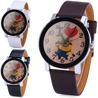Гаджет   Minion Pattern Ladies Quartz Watch with Leather Band Round Dial