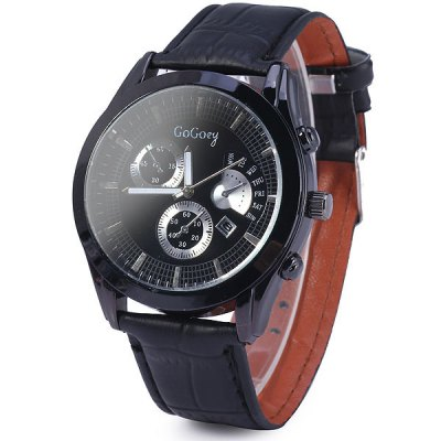 ФОТО Gogoey 1891 Unisex Quartz Watch with Date Function Leather Band Round Dial