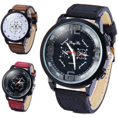PengBa Male Decorative Sub - dials Quartz Watch Leather Band Round DialMens Watches<br>PengBa Male Decorative Sub - dials Quartz Watch Leather Band Round Dial<br><br>Watches categories: Male table<br>Watch style: Fashion<br>Available color: Purple, Brown, Black<br>Movement type: Quartz watch<br>Shape of the dial: Round<br>Display type: Analog<br>Case material: Alloy<br>Band material: Leather<br>Clasp type: Pin buckle<br>Special features: Decorating small sub-dials<br>The dial thickness: 1.0 cm / 0.4 inches<br>The dial diameter: 5.0 cm / 2.0 inches<br>The band width: 2.2 cm / 0.9 inches<br>Product weight: 0.056 kg<br>Product size (L x W x H): 26.2 x 5.0 x 1.0 cm / 10.3 x 1.9 x 0.4 inches<br>Package Contents: 1 x Watch