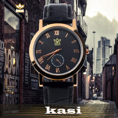ФОТО kasi Y010 Fashion Roman Numerals Quartz Watch with Water Resistance Round Dial Leather Band