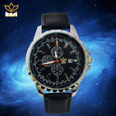 Water Resistant Quartz Watch Features Calendar Leather Band and Round Dial for Men