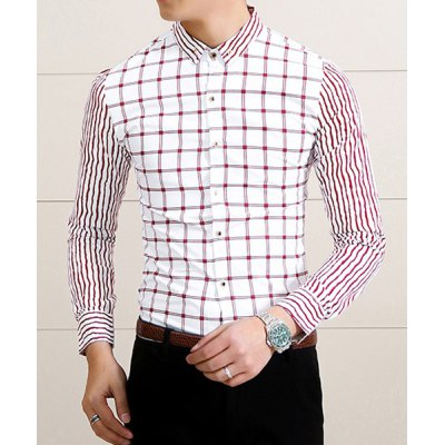 Гаджет   Stylish Shirt Collar Slimming Checked Design Stripe Splicing Long Sleeve Cotton Blend Shirt For Men Shirts