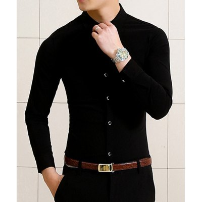 Гаджет   Stylish Shirt Collar Slimming Solid Color Single Breasted Long Sleeve Cotton Blend Shirt For Men