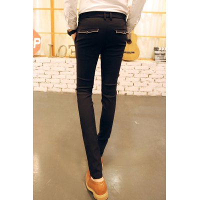 Гаджет   Slimming Trendy Zipper Fly Personality Pocket and Button Embellished Narrow Feet Men