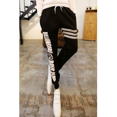 Гаджет   Refreshing Letters Print Lace-Up Stripes Embellished Slimming Narrow Feet Men