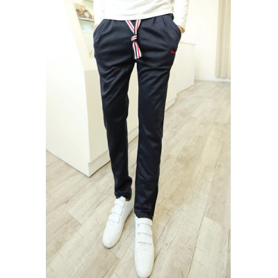Гаджет   Casual Lace-Up Letters Embroidery Loose Fit Zipper Design Cuffs Straight Leg Men