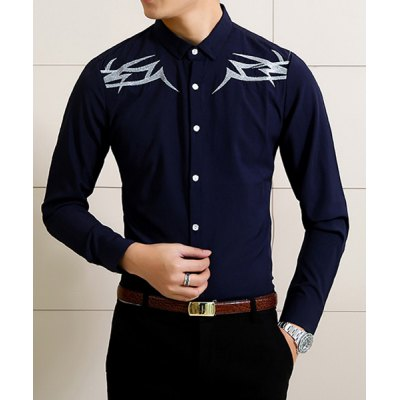 Гаджет   Stylish Shirt Collar Slimming Color Block Embroidered Long Sleeve Cotton Blend Shirt For Men Shirts