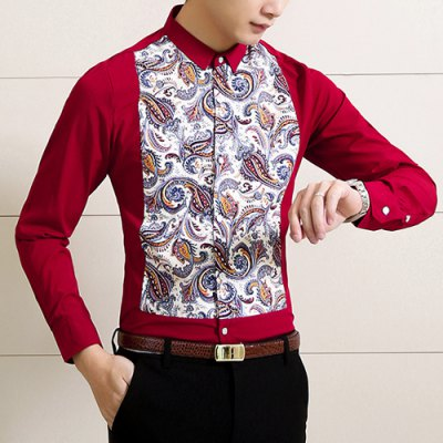 ФОТО Stylish Shirt Collar Slimming Colorful Paisley Print Long Sleeve Cotton Blend Shirt For Men