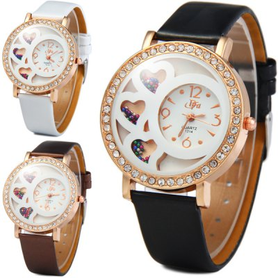 ФОТО DFA 1214 Diamond Quartz Watch Heart - shaped Pattern Round Dial Leather Strap for Ladies