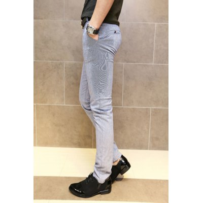 Гаджет   Laconic Solid Color Zipper Fly Button Embellished Slimming Straight Leg Men
