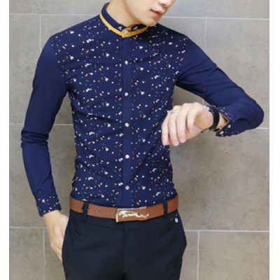 Гаджет   Slimming Color Block Stand Collar Tiny Floral Print Metal Embellished Long Sleeves Men