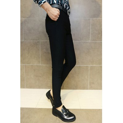 Гаджет   Slimming Stylish Solid Color Anchor PU Leather Embellished Narrow Feet Cotton Blend Pants For Men Pants