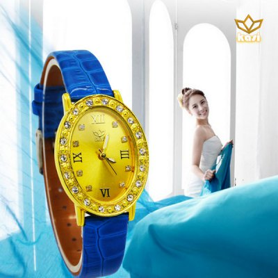 Гаджет   Fashion Quartz Watch with Gold Color Diamond Dial Bright Color Leather Band Wristwatch Women
