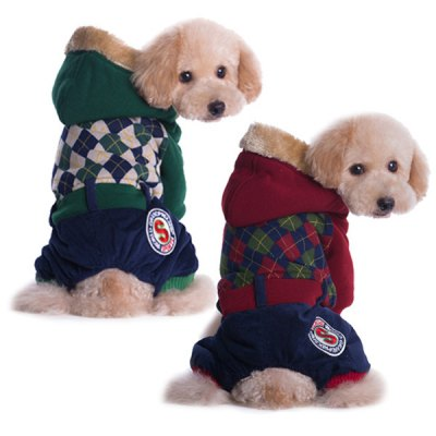 1 Piece of British and Campus Style Stripe Warm Winter Coat Four Leg Siut for Pet Dog Size XL