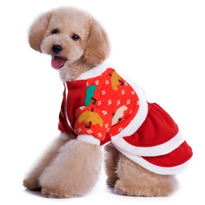 Christmas Santa Costume Outfit Puppy Dog Pet Clothes Dress Apparel Size S