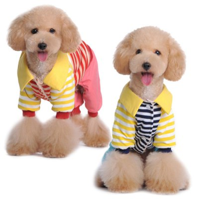 Гаджет   1 Piece of Fresh Style of Campus 4 Leg Coat for Pets Dogs Stripes Patterns Size M Pet Supplies
