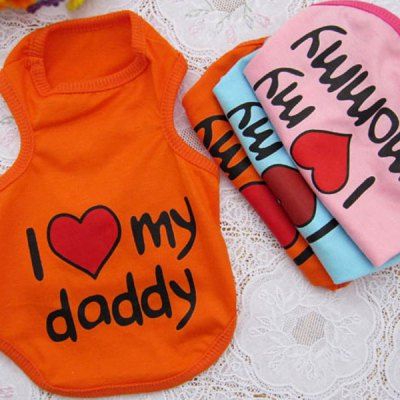 1 Peice of Lovely I Love My Mommy Daddy Pet Dog Puppy Clothes Clothing Vest Costume Size M