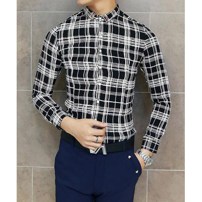 Гаджет   Stylish Shirt Collar Slimming Plaid Print Button Design Long Sleeve Cotton Blend Shirt For Men Shirts