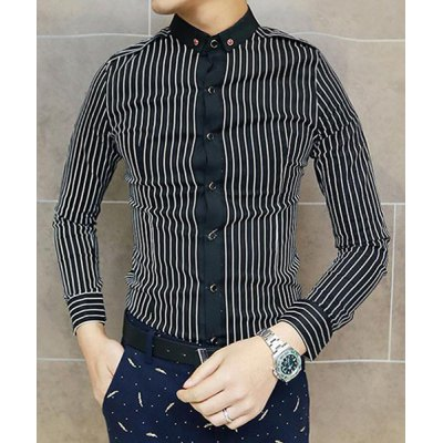 Гаджет   Stylish Shirt Collar Slimming Vertical Stripes Button Design Long Sleeve Cotton Blend Shirt For Men Shirts