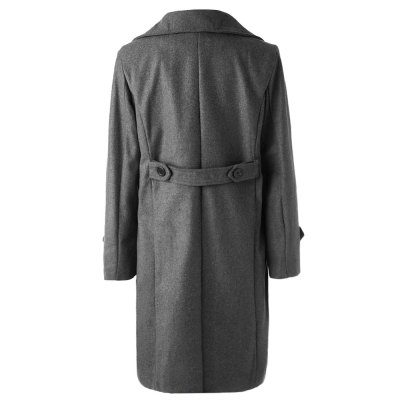 ФОТО Solid Color Turndown Collar Elegant Double-Breasted Long Sleeves Woolen Trench Coat For Men