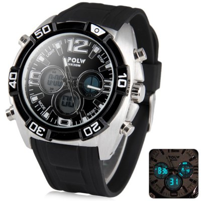 Hpolw 606 Military Sports LED Watch Multifunction 30M Water Resistant Double TimeSports Watches<br>Hpolw 606 Military Sports LED Watch Multifunction 30M Water Resistant Double Time<br><br>People: Male table<br>Watch style: LED, Fashion&amp;Casual, Military, Outdoor Sports<br>Available color: Black, White, Red, Blue<br>Shape of the dial: Round<br>Movement type: Double-movtz<br>Display type: Analog-Digital<br>Case material: Stainless Steel<br>Band material: Rubber<br>Clasp type: Pin buckle<br>Special features: Day, Alarm clock, Stopwatch, EL Back-light<br>Water Resistance: 30 meters<br>The dial thickness: 1.5 cm / 0.6 inches<br>The dial diameter: 5.0 cm / 2.0 inches<br>The band width: 2.4 cm / 0.9 inches<br>Product weight: 0.099 kg<br>Package weight: 0.162 kg<br>Product size (L x W x H) : 25 x 5.0 x 1.5 cm / 9.8 x 2.0 x 0.6 inches<br>Package size (L x W x H): 7.5 x 7.5 x 8 cm<br>Package contents: 1 x Watch, 1 x Box
