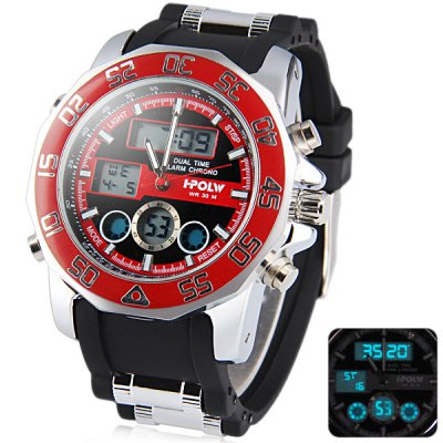 Фотография Hpolw 597 Fashion Dial Military Sports LED Watch Multifunction Water Resistant Double Display