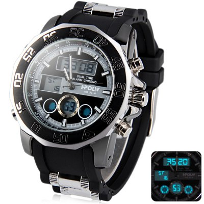 Hpolw 597 Fashion Dial Military Sports LED Watch Multifunction Water Resistant Double Display