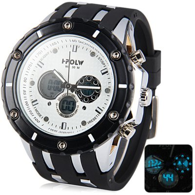 Гаджет   Hpolw 592 Military LED Sports Watch Dual Time Alarm Stopwatch 3ATM Water Resistant Sports Watches