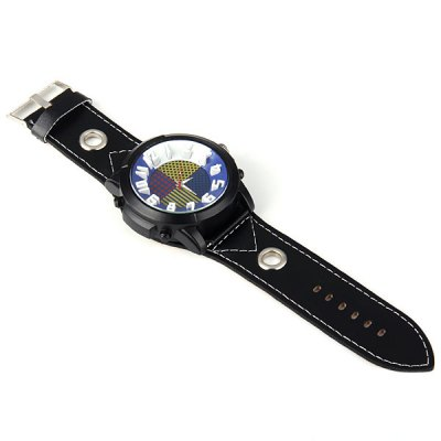 Фотография Big Round Dial Male Quartz Watch Stereo Scale Leather Band for Men