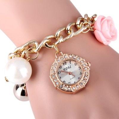 RSOL Women Quartz Chain Watch Steel + Plastic Band Beads Flower Round DialWomens Watches<br>RSOL Women Quartz Chain Watch Steel + Plastic Band Beads Flower Round Dial<br><br>Watches categories: Female table<br>Available color: Pink, Blue, Green, Yellow<br>Style : Fashion&amp;Casual<br>Movement type: Quartz watch<br>Shape of the dial: Round<br>Display type: Analog<br>Case material: Steel<br>Case color: Gold<br>Band material: Plastic and steel<br>Clasp type: Hook buckle<br>The dial thickness: 0.5 cm / 0.2 inches<br>The dial diameter: 2.5 cm / 1.0 inches<br>Product weight: 34 g<br>Product size (L x W x H) : 24 x 3.0 x 1.0 cm / 9.4 x 1.2 x 0.4 inches<br>Package contents: 1 x Watch