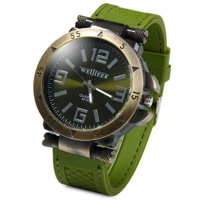 Гаджет   Weijieer A6185 Round Dial Male Quartz Watch Big Numbers Rubber Band for Men Men