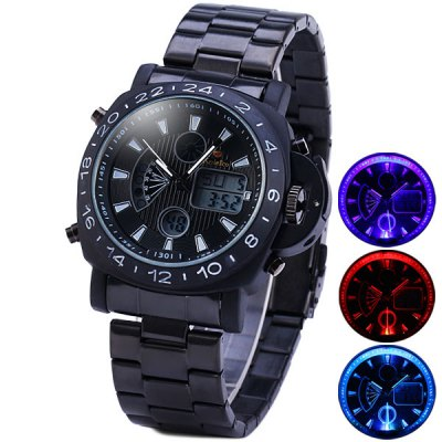 Kaletco 989 Flash Light LED Sports Military Watch Dual - movtz IP Plating - KaletcoSports Watches<br>Kaletco 989 Flash Light LED Sports Military Watch Dual - movtz IP Plating<br><br>Brand: Kaletco<br>People: Male table<br>Watch style: LED, Fashion&amp;Casual, Business, Military, Outdoor Sports<br>Available color: White, Red, Blue, Yellow<br>Shape of the dial: Round<br>Movement type: Double-movtz<br>Display type: Analog-Digital<br>Case material: Stainless Steel<br>Band material: Stainless steel<br>Clasp type: Folding clasp with safety<br>Special features: Day, Alarm clock, Light<br>Water Resistance: 30 meters<br>The dial thickness: 1.4 cm / 0.6 inches<br>The dial diameter: 5.0 cm / 2.0 inches<br>The band width: 2.4 cm / 1.0 inches<br>Product weight: 0.166 kg<br>Product size (L x W x H) : 16 x 5.0 x 1.4 cm / 6.3 x 2.0 x 0.6 inches<br>Package contents: 1 x Kaletco Watch