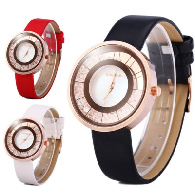 Comely 983 Rolling Diamond Japan Quartz Watch Leather Band Round Dial for LadyWomens Watches<br>Comely 983 Rolling Diamond Japan Quartz Watch Leather Band Round Dial for Lady<br><br>Watches categories: Female table<br>Available color: Red, Black, White<br>Style : Fashion&amp;Casual<br>Movement type: Quartz watch<br>Shape of the dial: Round<br>Display type: Analog<br>Case material: Alloy<br>Band material: Leather<br>Clasp type: Pin buckle<br>The dial thickness: 0.7 cm / 0.3 inches<br>The dial diameter: 3.7 cm / 1.5 inches<br>The band width: 1.7 cm / 0.7 inches<br>Product weight: 35 g<br>Product size (L x W x H) : 22.5 x 3.7 x 0.7 cm / 8.9 x 1.5 x 0.3 inches<br>Package contents: 1 x Watch