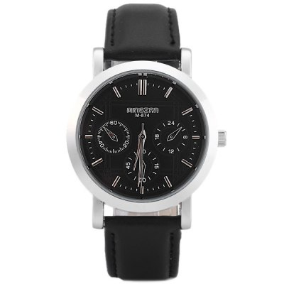 Гаджет   Mingzrn M - 874 Analog Male Quartz Watch Non - functioning Sub - dials Leather Band Round Dial Men