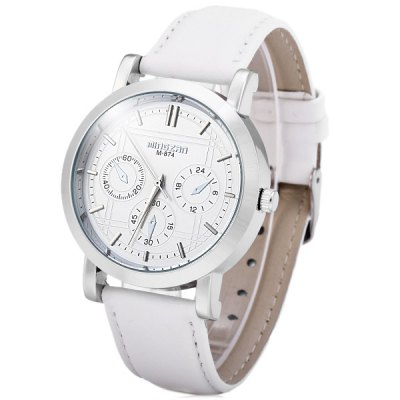 Mingzrn M - 874 Analog Male Quartz Watch Non - functioning Sub - dials Leather Band Round Dial
