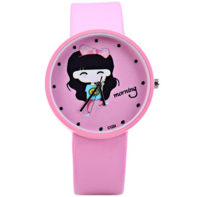 Фотография Quartz Watch Cartoon Girl Round Dial Leather Band for Children