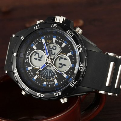 OHSEN AD2816 Military LED Sports Watch Dual Time Multifunction 3ATM Water Resistant