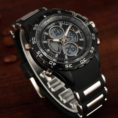 Гаджет   OHSEN AD2816 Military LED Sports Watch Dual Time Multifunction 3ATM Water Resistant Sports Watches