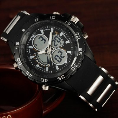 Фотография OHSEN AD2816 Military LED Sports Watch Dual Time Multifunction 3ATM Water Resistant