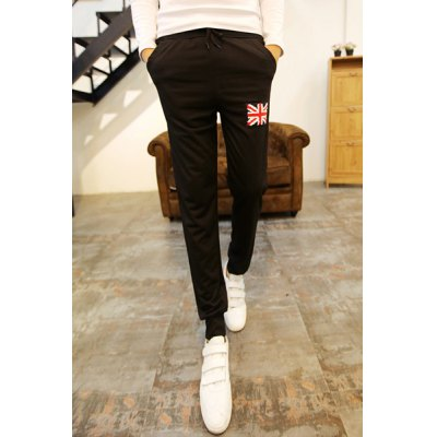 Гаджет   Loose Fit Stylish Lace-Up Flag Patched Design Narrow Feet Cotton Blend Sweatpants For Men Pants